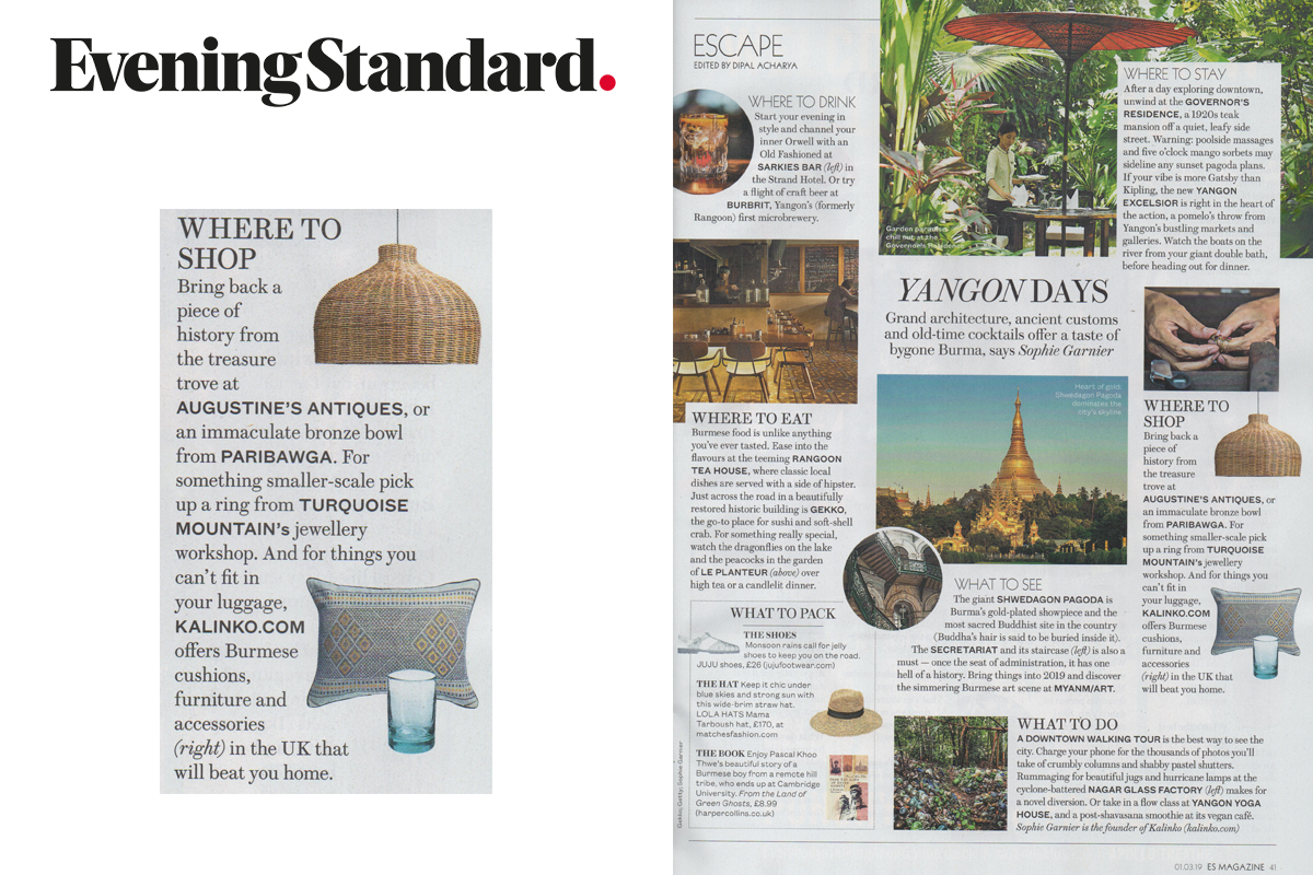 Sophie's Top Tips for a trip to Yangon published in the Evening Standard Magazine
