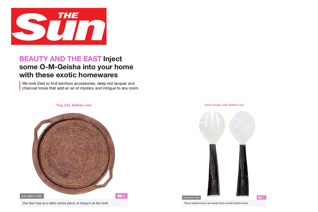 Minshin Salad Spoons and Inle Tray featured on TheSun.co.uk