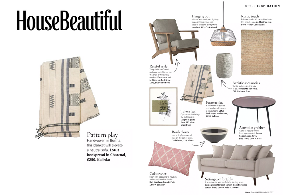 Lotus Bedspread featured in House Beautiful