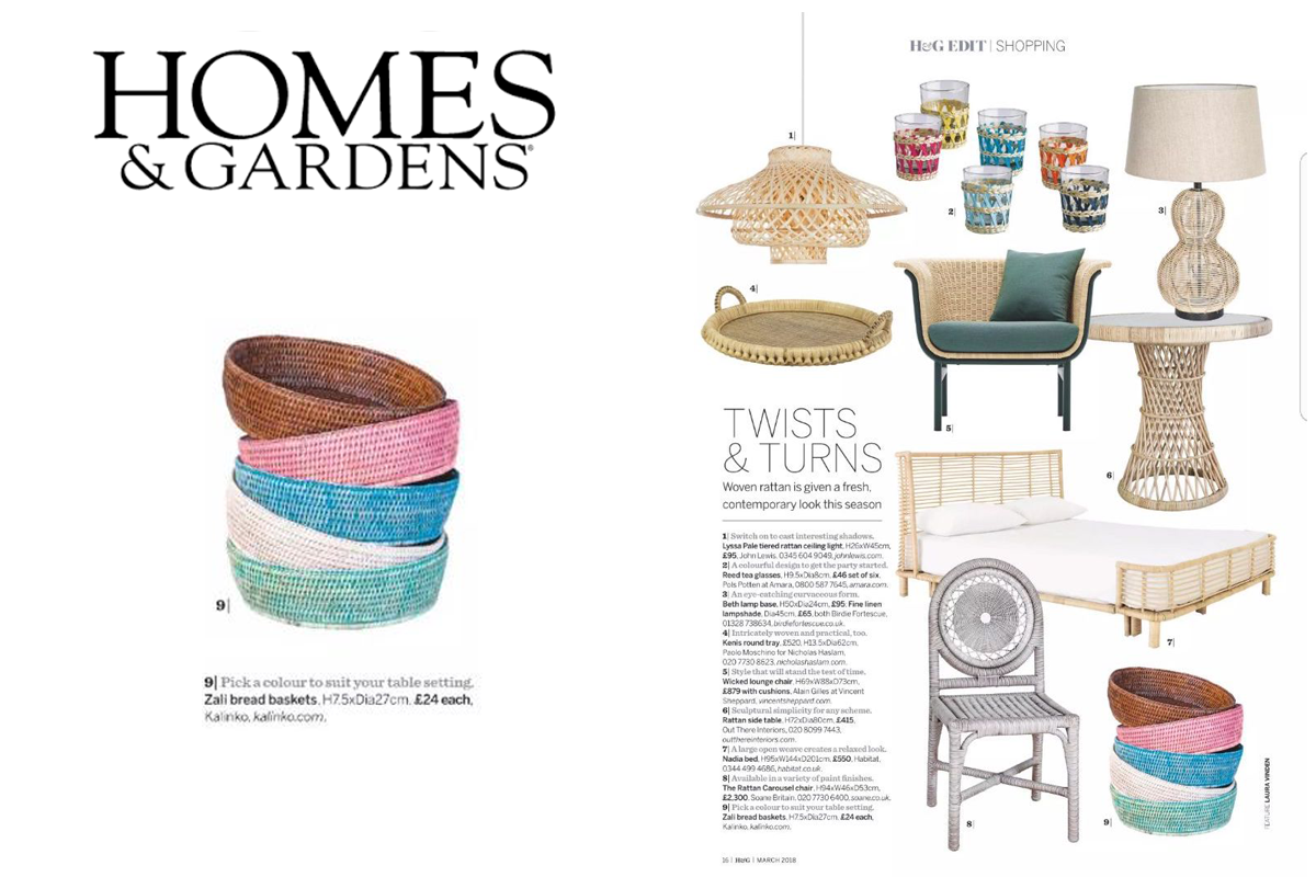 Zali Bread Baskets featured in Homes & Gardens Magazine