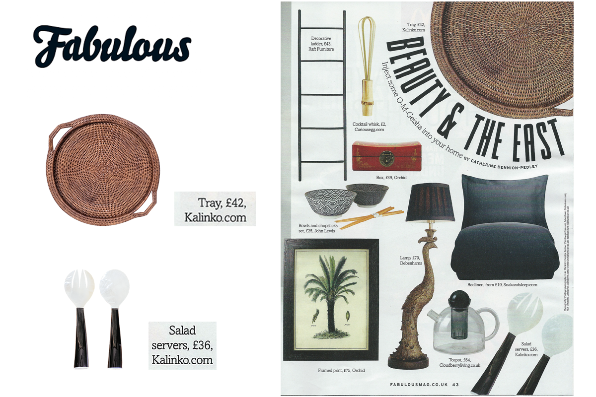 Minshin Salad Servers and Inle Tray featured in Fabulous Magazine