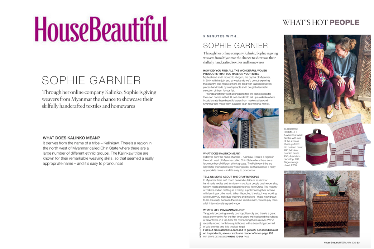 Our founder, Sophie, interviewed in House Beautiful Magazine