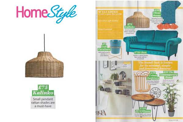 Kalinko's Asho Rattan Lampshade featured in the February 2019 issue of Home Style Magazine