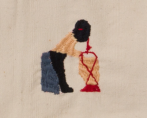 Embroidery of drinking homemade rice wine