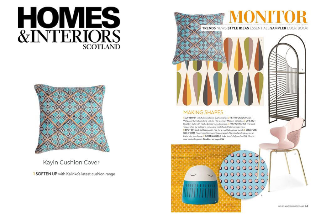 Kayin Cushion featured in Homes & Interiors (Scotland) Magazine