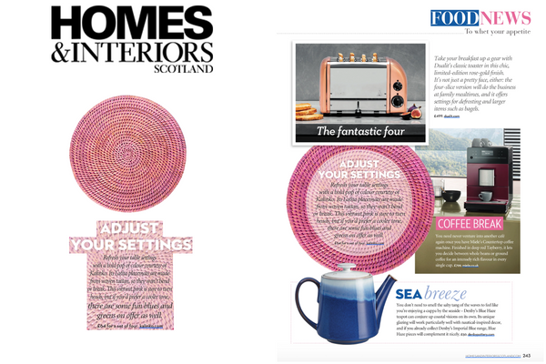 Our Latha Placemats featured in Homes & Interiors Scotland Magazine