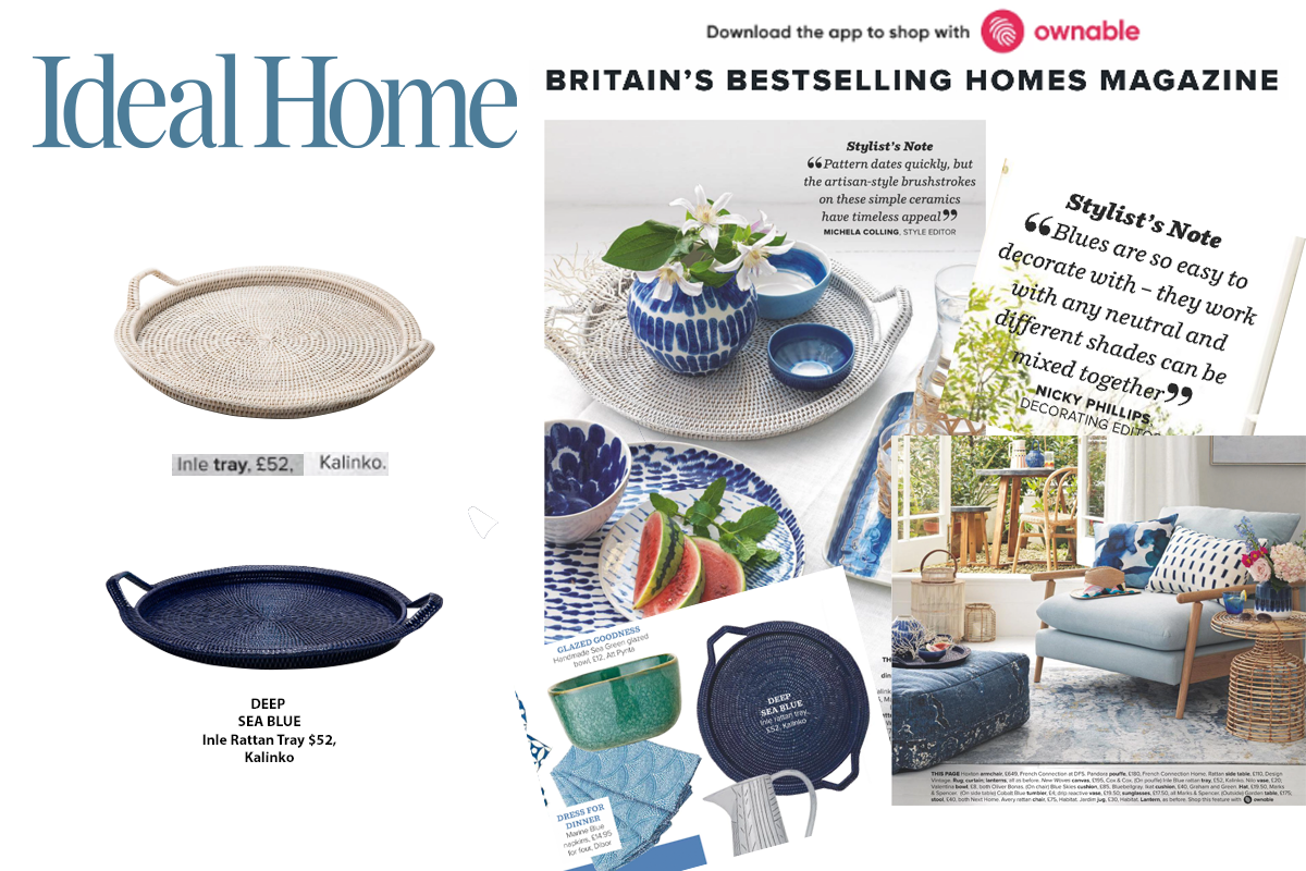 Inle Tray in Deep Blue and White featured in Ideal Home Magazine
