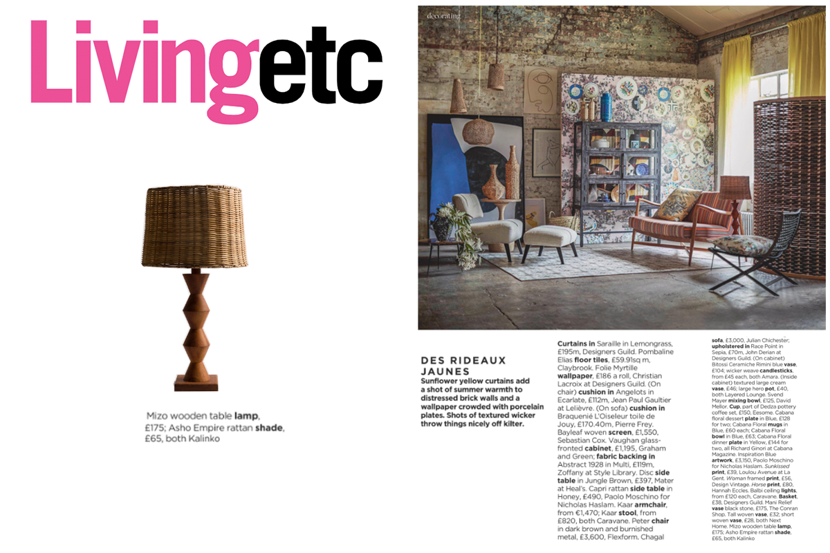 Mizo Lamp and Asho Empire Shade featured in Living etc Magazine