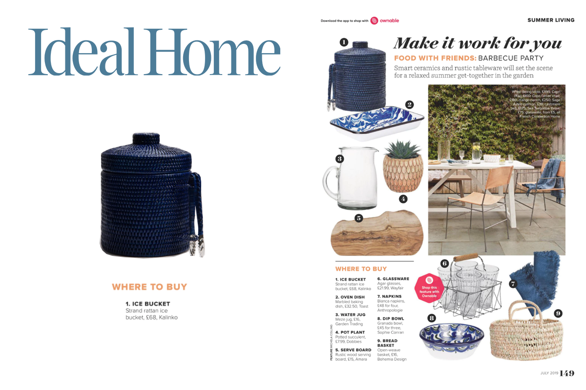 Strand Ice Bucket in Deep Blue featured in Ideal Home Magazine