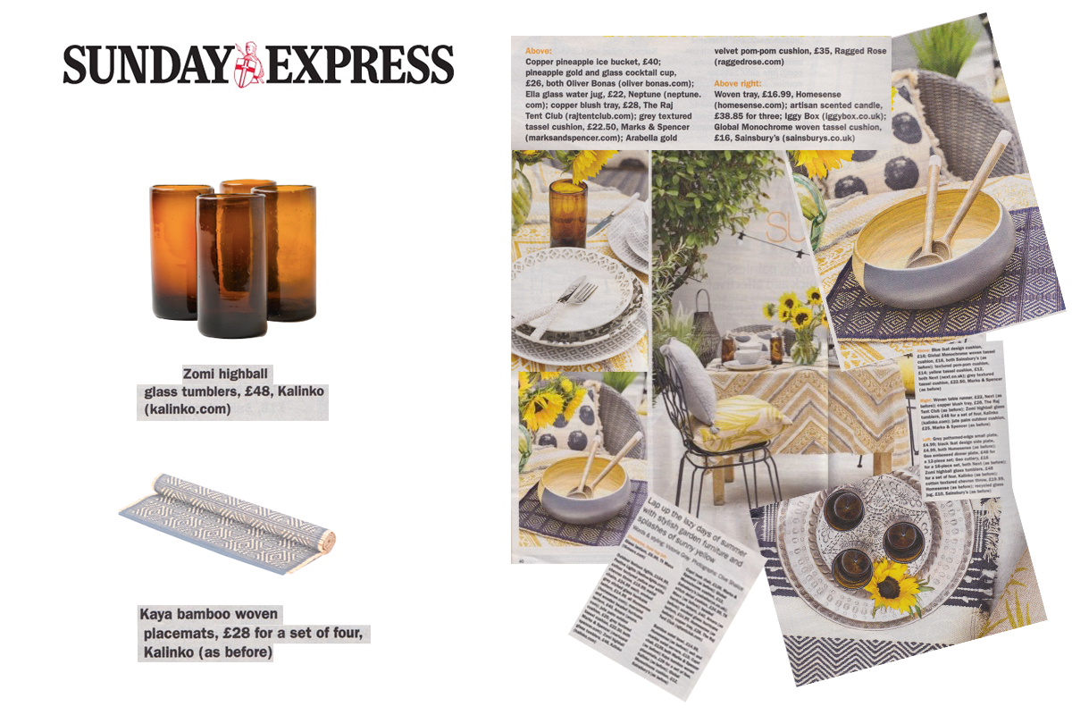 Kaya Placemat and Zomi High Balls in Amber featured in Sunday Express Magazine