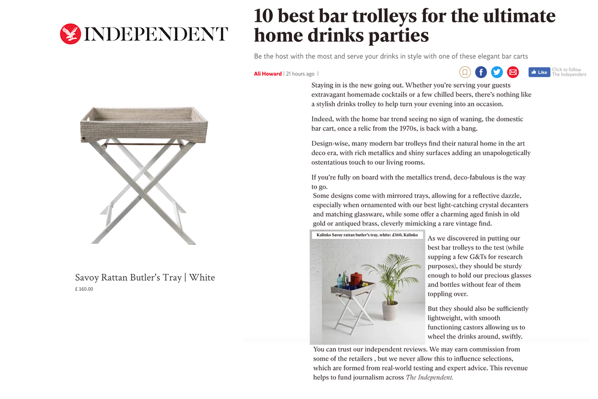 Butler's Tray in White featured in Independent Magazine