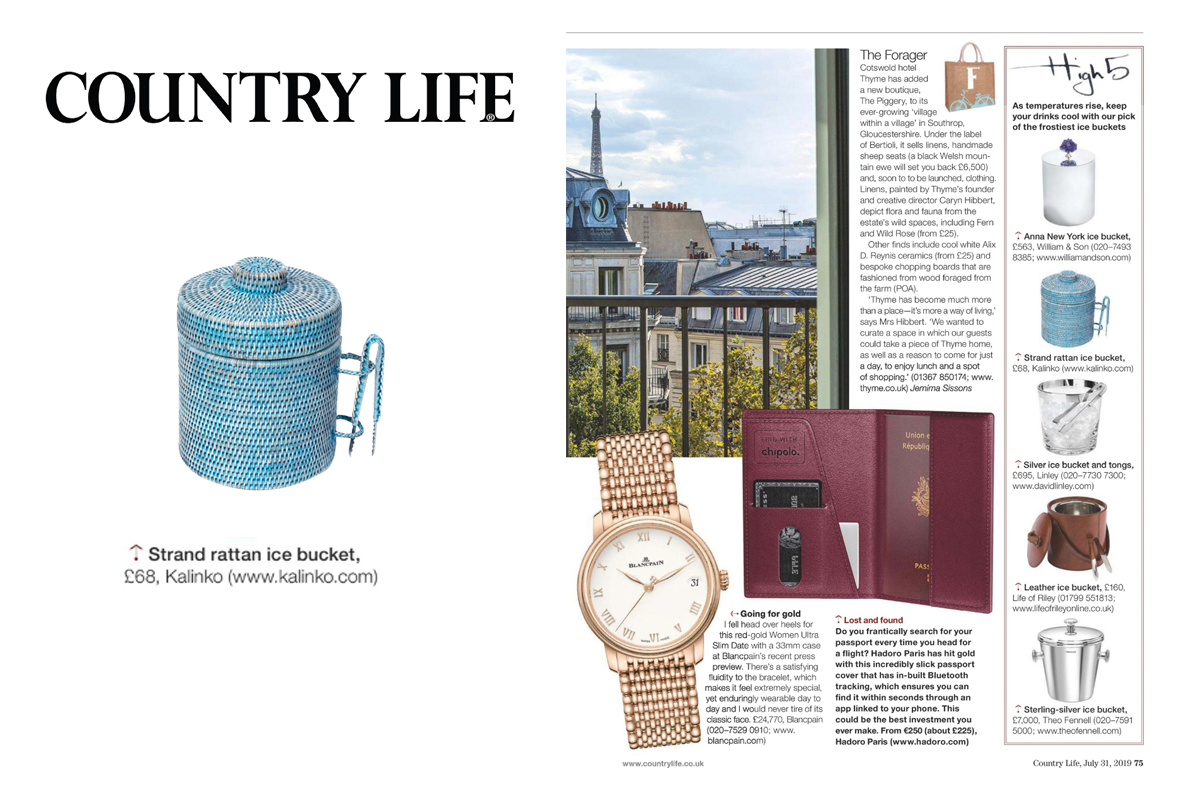 Strand Ice Bucket in Blue featured in Country Life Magazine