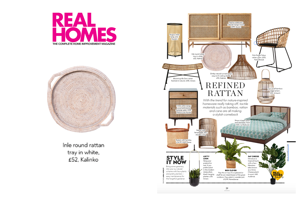 Inle Rattan Tray in White featured in Real Homes The Complete Home Improvement Magazine
