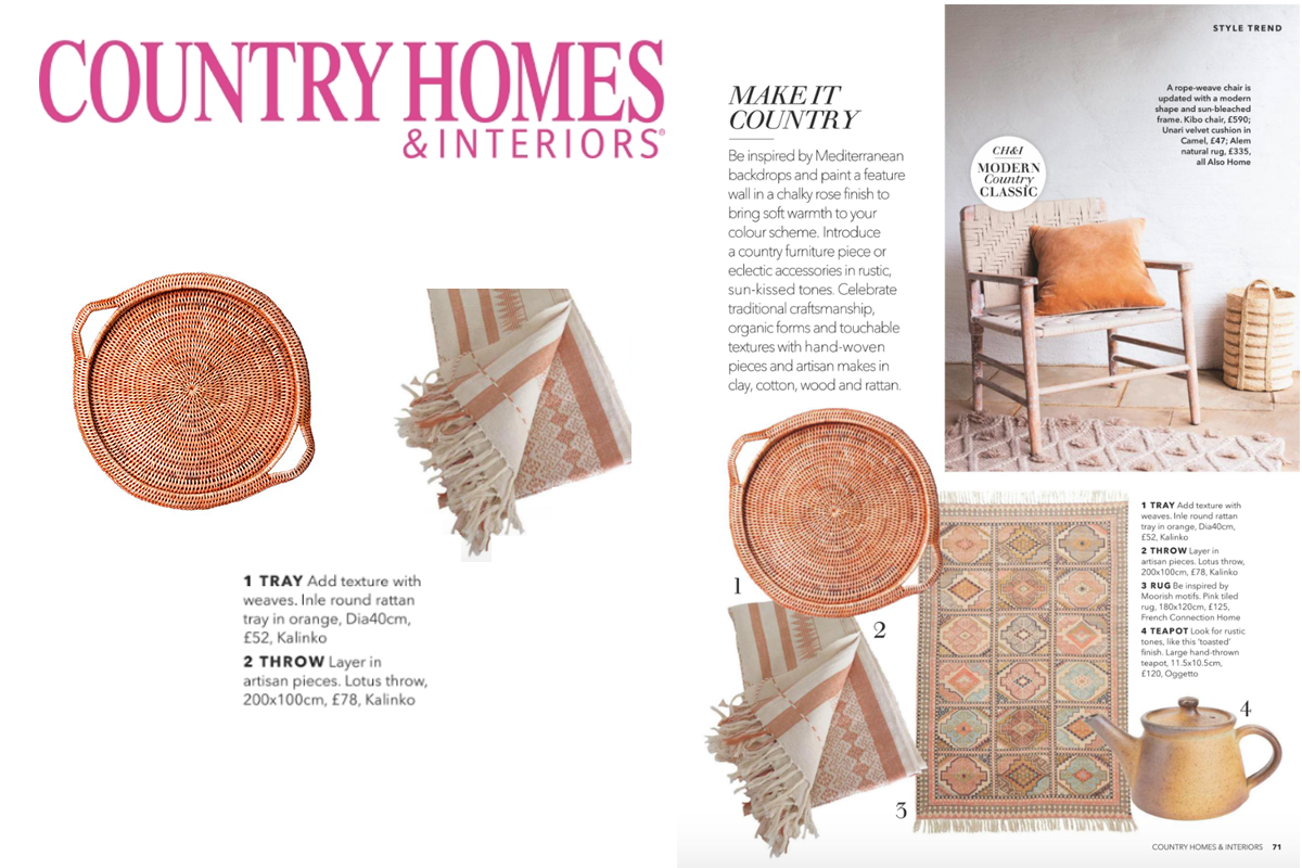 Inle Tray and Lotus Throw featured in Country Homes & Interiors Magazine
