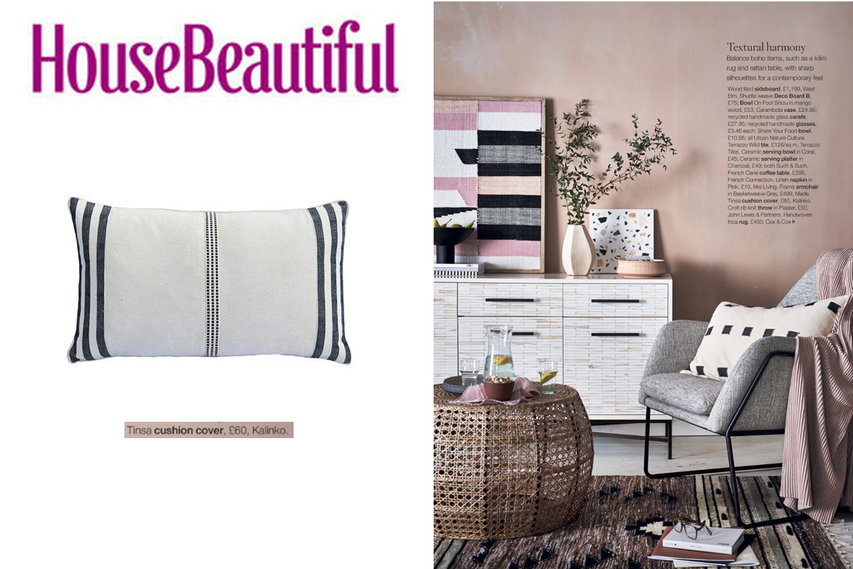 Tinsa Cushion Cover featured in House Beautiful Magazine