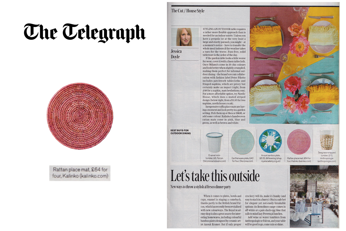 Latha Placemat in Pink featured in The Telegraph Magazine