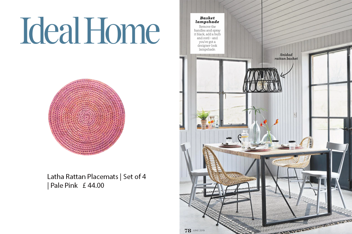 Latha Rattan Placemats featured in Ideal Home Magazine