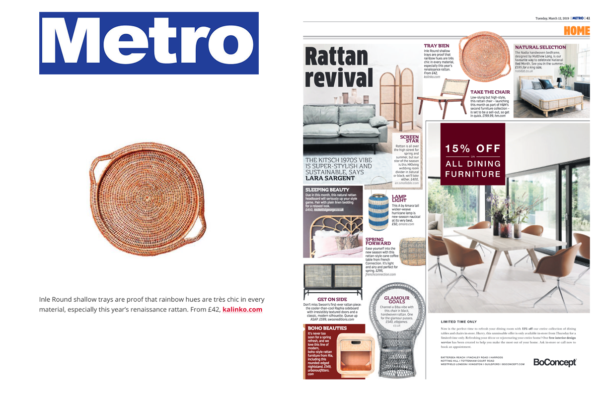 Our Inle Tray in Orange featured in the Metro Newspaper