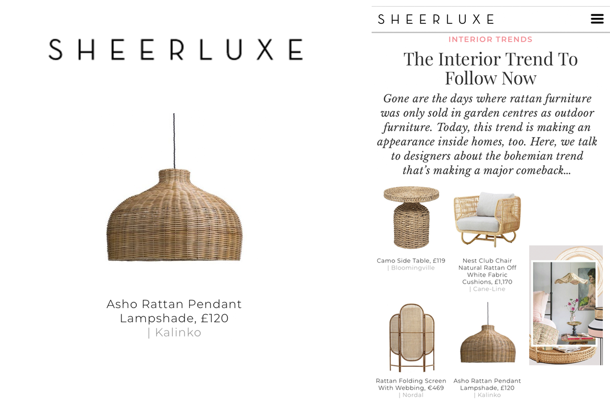 Asho Rattan Pendant Lampshade featured in Sheerluxe Magazine