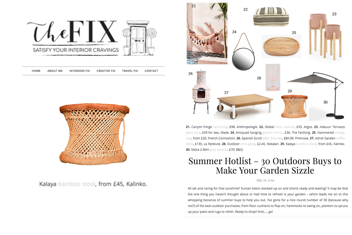Kalaya Bamboo Stool featured in The Fix Satisfy Your Interior Cravings