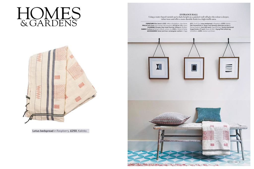 Our Lotus Bedspread featured in Homes & Gardens Magazine
