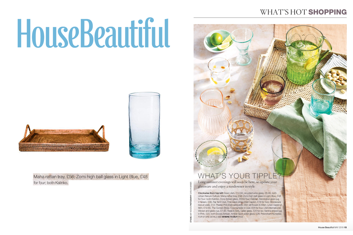 Maha rattan tray and Zomi high ball glass featured in House Beautiful Magazine