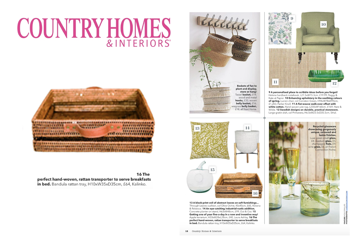 Bndula Rattan Tray featured in Country Homes & Interiors