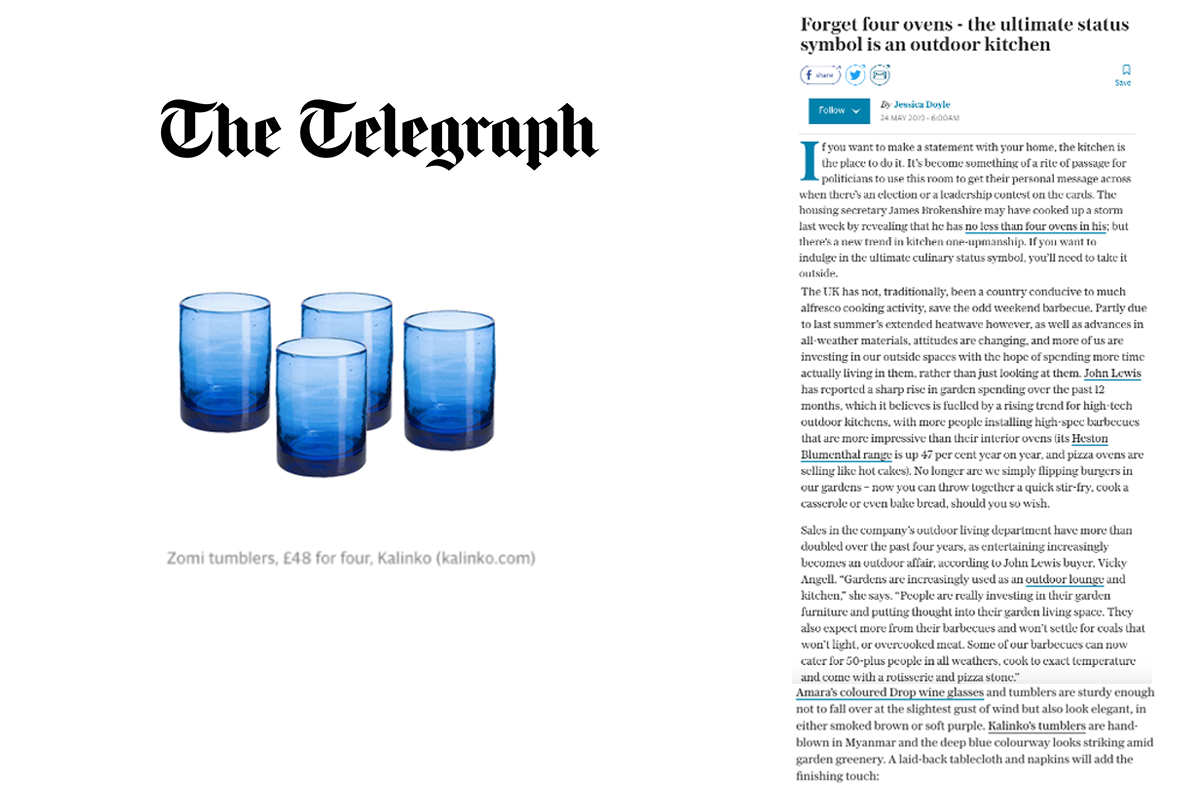 Zomi Tumblers featured in The Telegraph Magazine