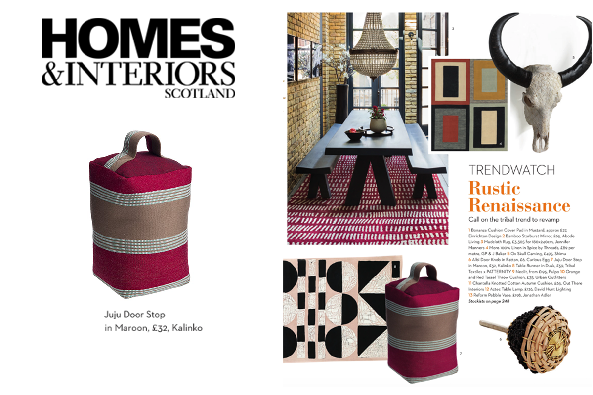 Our Juju Doorstop featured in Homes & Interiors Scotland Magazine