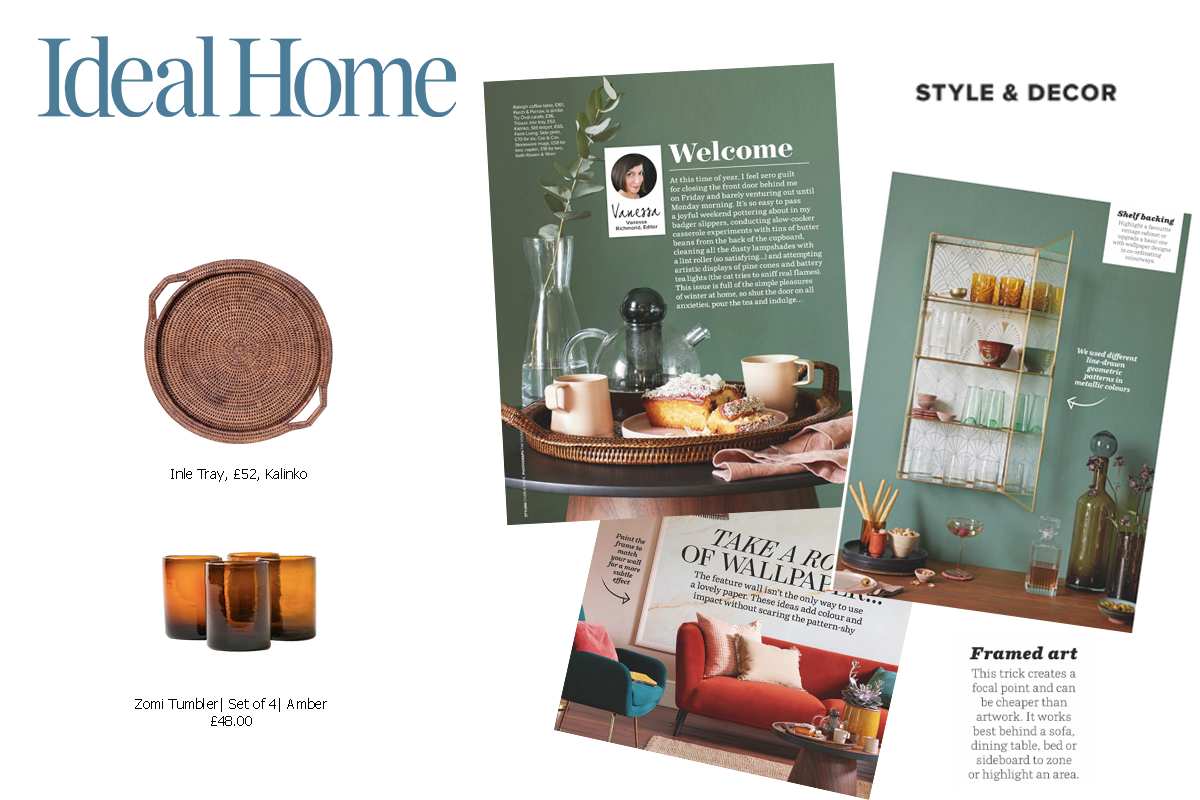 Inle Tray in Brown and Zomi Tumbler in Amber featured in Ideal Home Magazine
