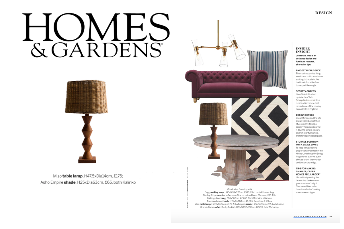Mizo Table Lamp With Asho Shade featured in Homes & Gardens Magazine