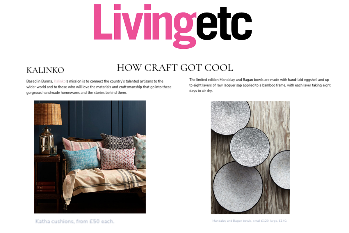 Our Cushion Covers and Lacquer Bowls featured in Living Etc and on livingetc.com