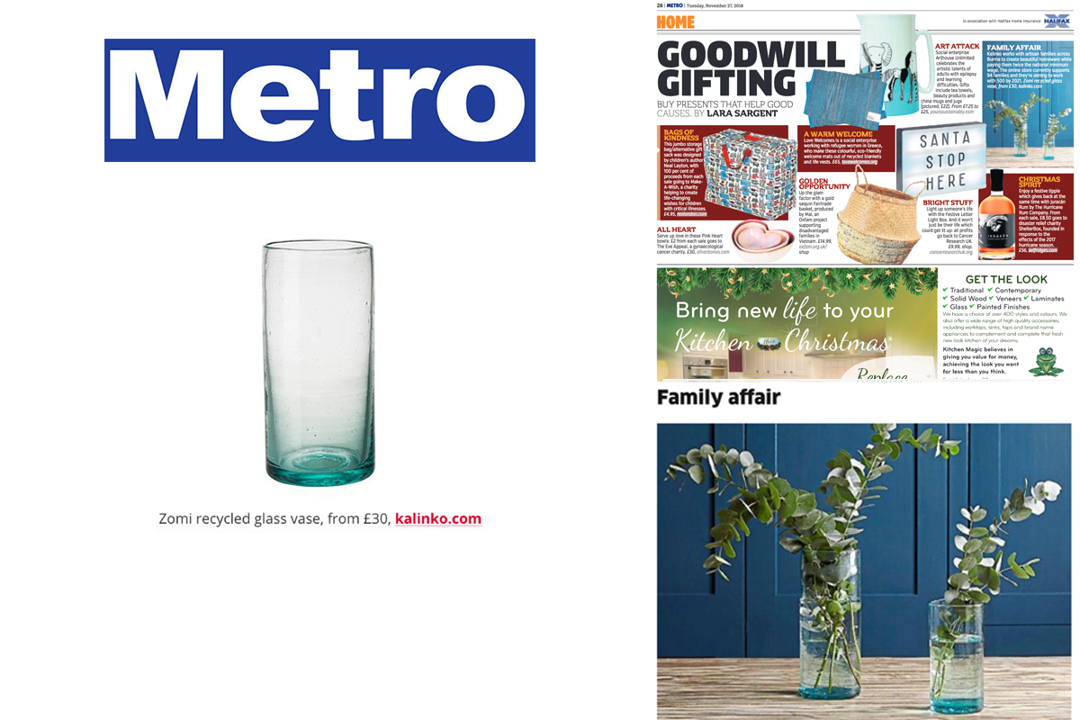 Our Zomi Vase featured in Metro Newspaper