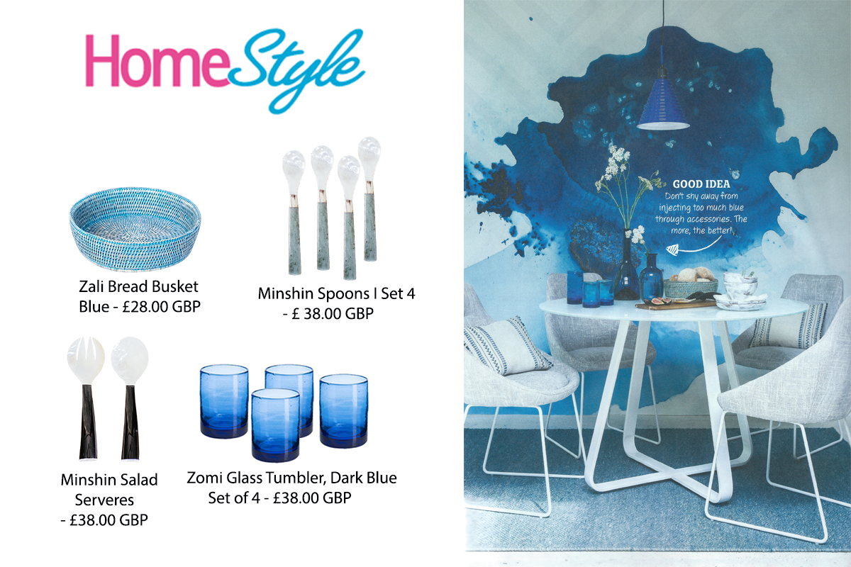 Our Zomi Tumblers, Minshin Spoons, Minshin Salad Servers and Zali Bread Basket featured in Home Style Magazine