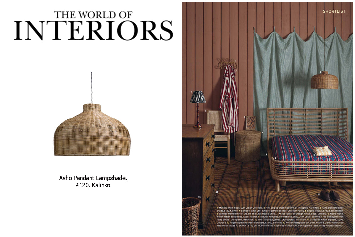 Asho Pendant Lampshade featured in The World of Interiors Magazine