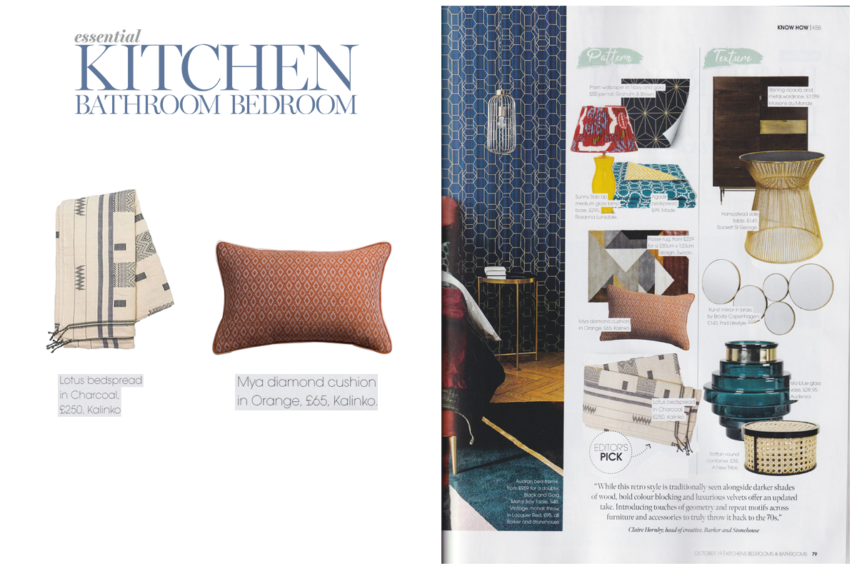 Lotus Bedspread in Charcoal and Mya Cushion in Orange featured in Essential Kithchen Bathroom Bedroom Magazine