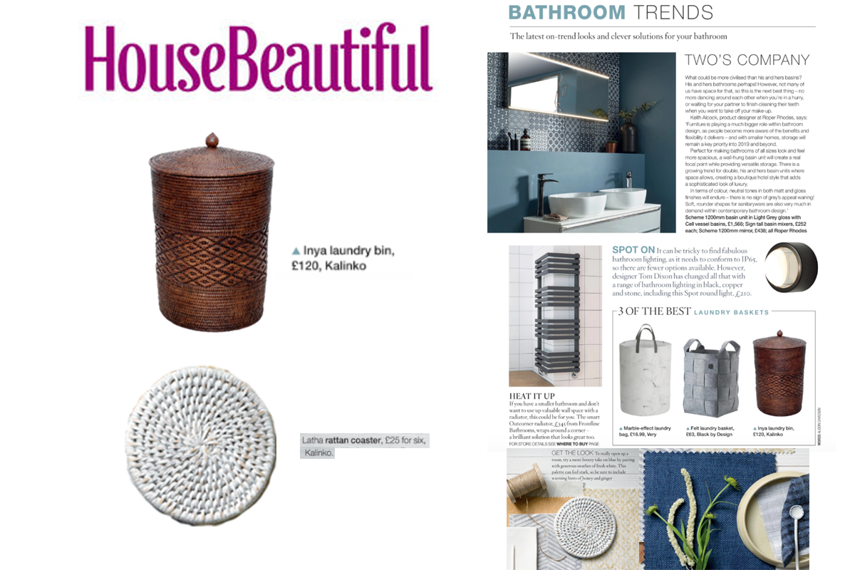 Our Inya Laundry Bin and Latha Coasters featured in House Beautiful Magazine