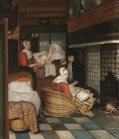 An interior with a family and two nurses before a fire – Attr. Esaias Boursse