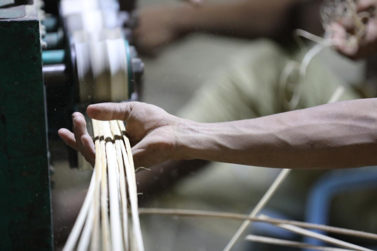 Rattan weavers at work
