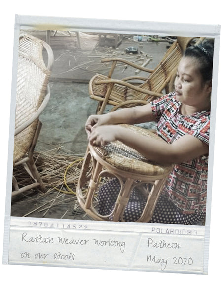 Rattan weaver making our stool