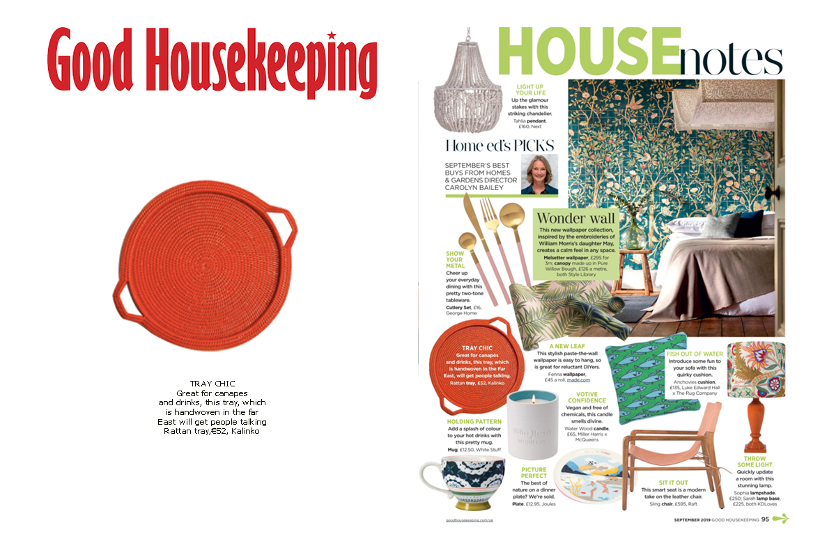 Our Rattan Tray in Orange featured in Good Housekeeping Magazine