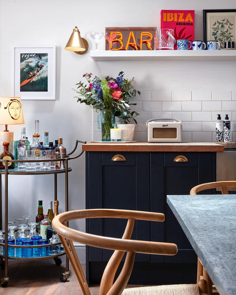 Our Zomi Tumblers on Lucy Williams' bar cart