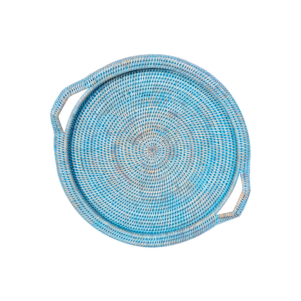 Inle Round Rattan Tray | Blue