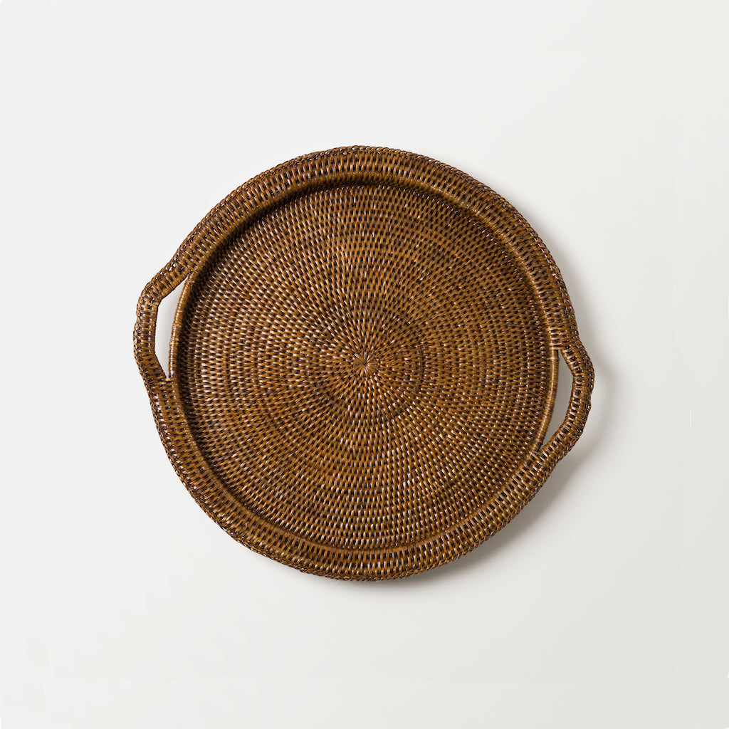 Inle Round Rattan Tray | Brown