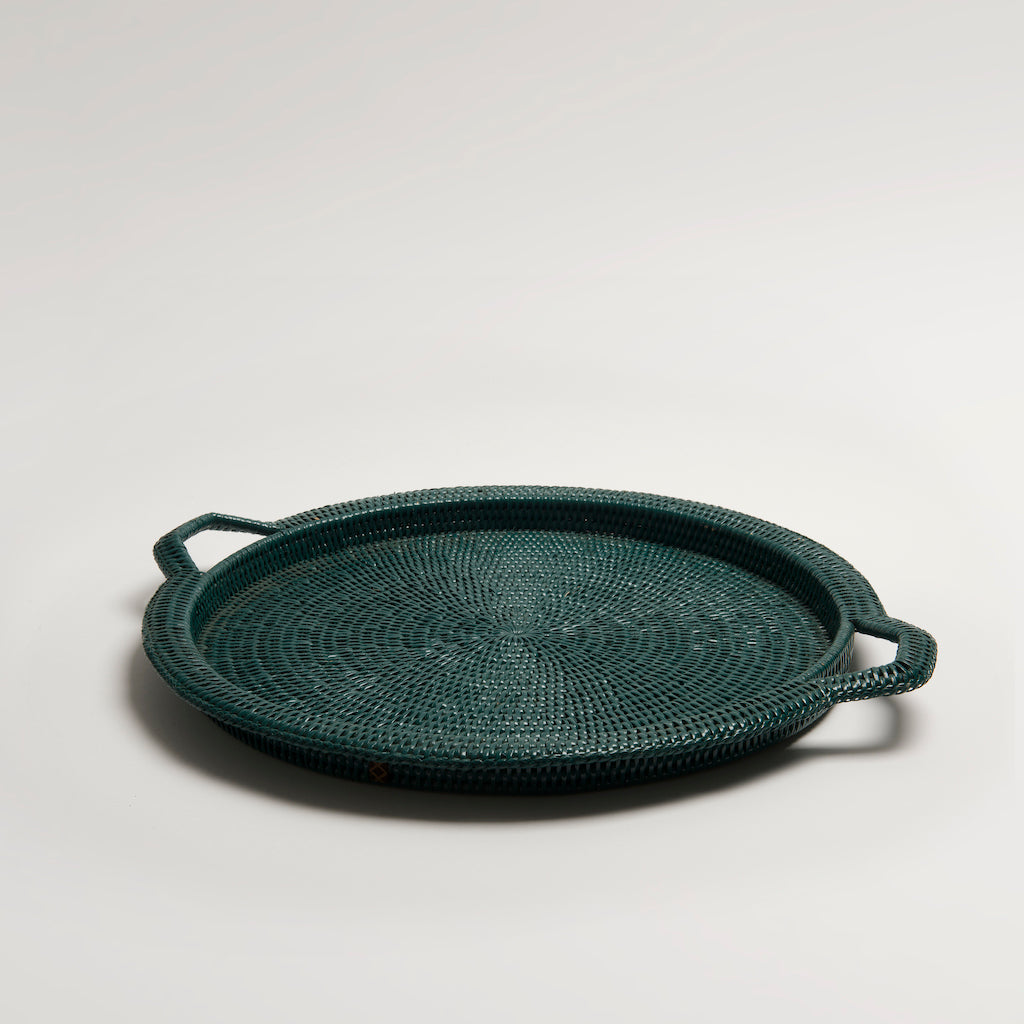 Inle Rattan Tray | Dark Green