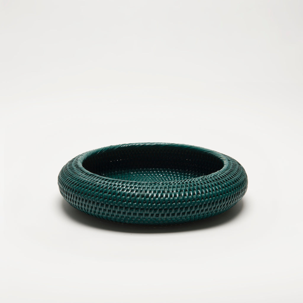 Inya Rattan Bowl | Small Dark Green