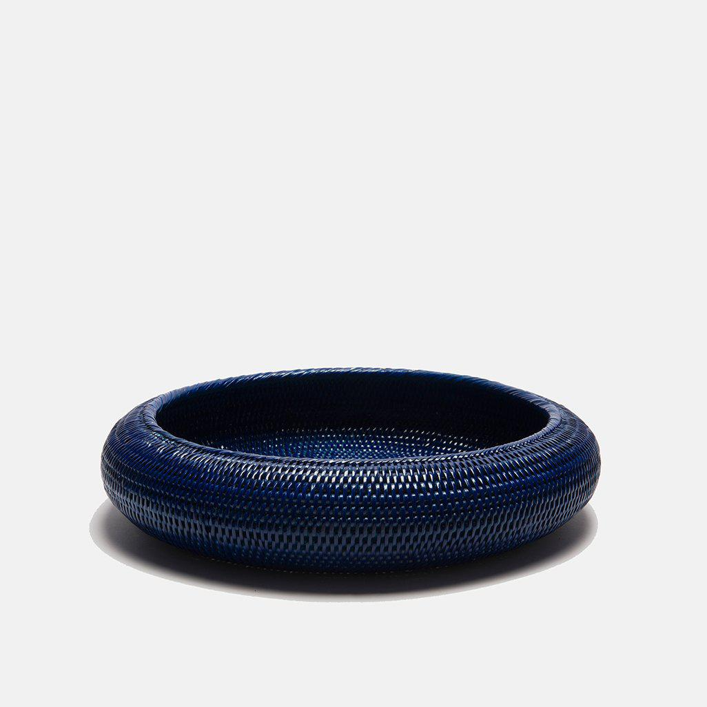 Inya Rattan Bowl | Large | Dark Blue