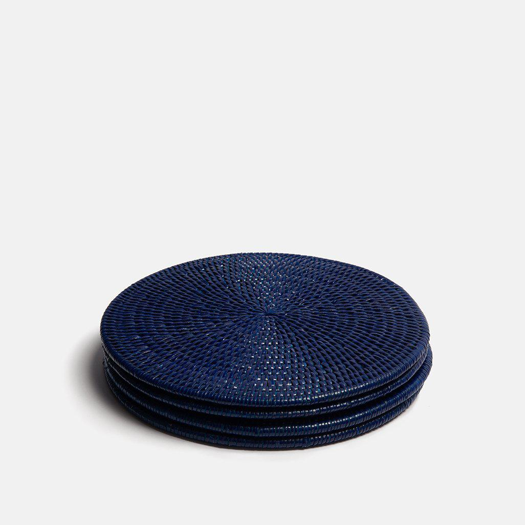 Latha Rattan Placemats | Set of 4 | Dark Blue