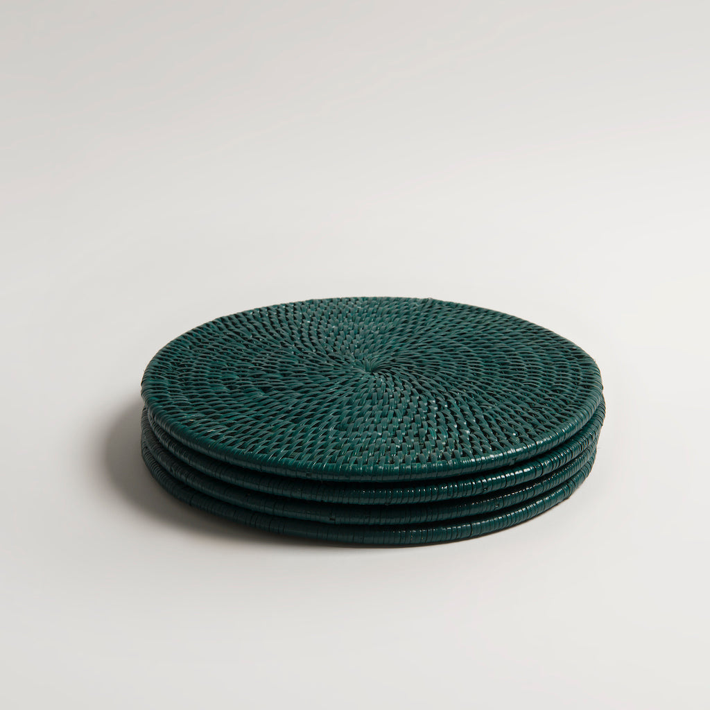 Latha Rattan Placemats | Dark Green