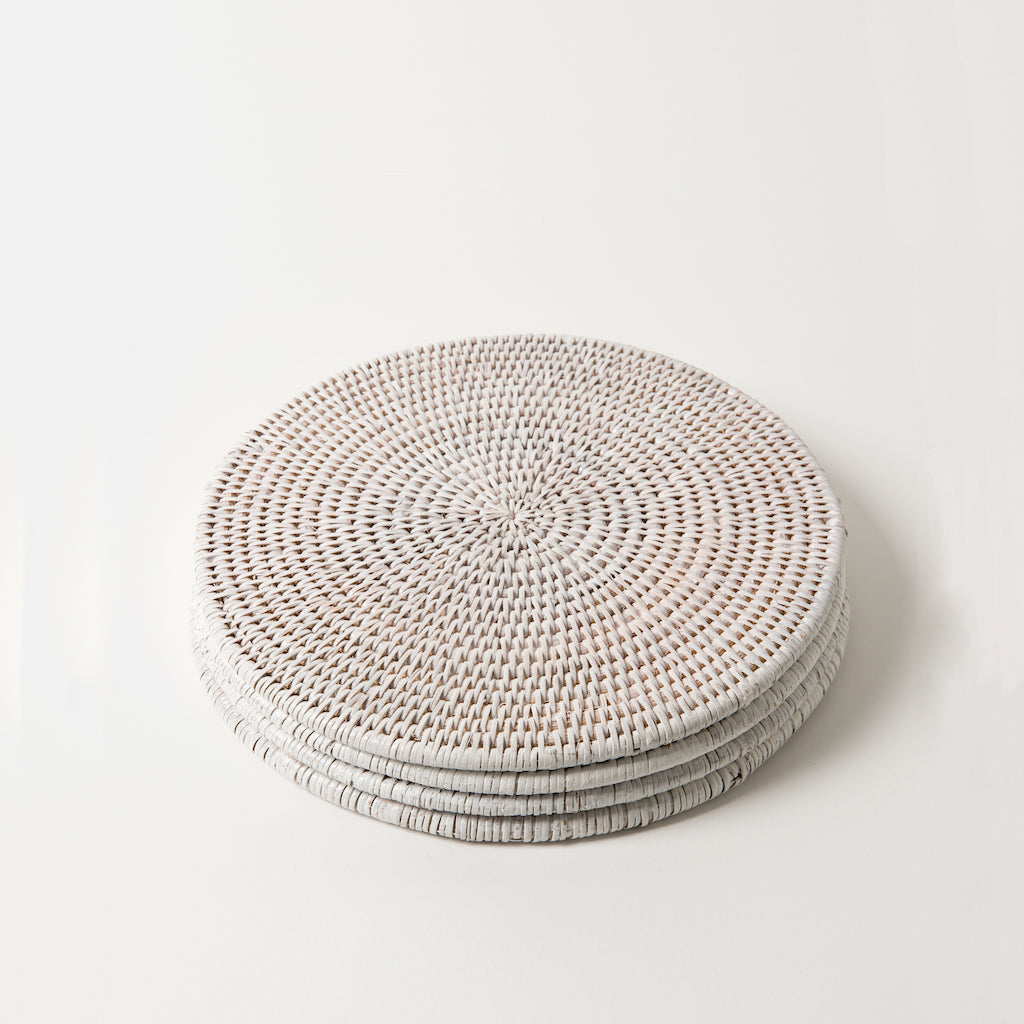 Latha Rattan Placemats | Set of 4 | White